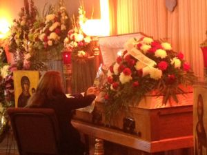 Sammy Yatim's mom at casket